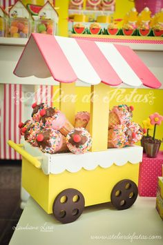 Ice Cream Theme, Ice Cream Party, Birthday Party Decorations, Birthday Parties, Diy And Crafts, Crafts For Kids, Ideas Para Fiestas, Party In A Box, Circus Party