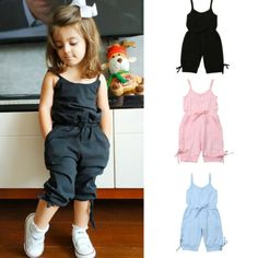 V-A-O-L Summer Baby Girl Denim Blue Cotton Washed Jeans Sleeveless Bow-Knot Jumpsuit