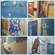 Frozen Hallways of my daycare center. KIDS LOVED IT!!!  #preschool #bulletinboard #frozen