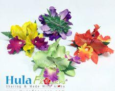 Hawaiian Orchid Flowers Hair Clip For Hula Dancer, Wedding, Beach Party Hair Accessories, Gift Idea, Hand Made Foam & Silk Flowers.