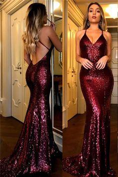 Red Simple Design Backless Side Slit Long Evening Prom Dresses #Sequins #Promdress #Partydress #Red