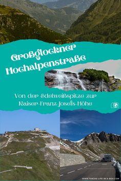 vWeiter geht der Roadtrip über die Großglockner Hochalpenstraße in Österreich. Von Salzburg bis Kärnten gibt es wunderschöne Aussichtspunkte, Wasserfälle und aufregende Kurven. Welche Stopps sich lohnen und viel wissenswertes über die Großglockner Hochalpenstraße - eine der schönsten Panoramastraßen Europas - erfährst du, wenn du auf den Beitrag klickst. Kaiser Franz Josef, Roadtrip, Salzburg, Mountains, Box, Nature, Travel, Life, Europe