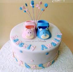 eagerly awaiting gender reveal cake