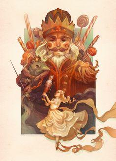 Poster art by illustrator Wylie Beckert for Kansas Ballet's 2014 production of The Nutcracker