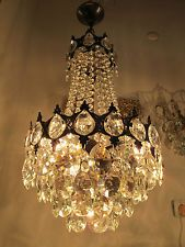 Antique Vtg French BIG Basket Style Crystal Chandelier Lamp Light Lustre 1940s