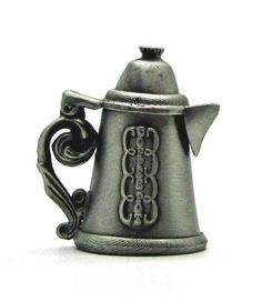 Nicholas Gish coffee pot pewter thimble lid opens