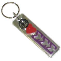 Sigma Sigma Sigma Sorority Peace Love Keychain $6.99  #TriSigma #sigmasigmasigma #Greek #sorority #peaceloveTrisigma #keychain