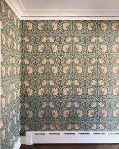 project is such a beautiful mix of old and new! Wallpaper is Pimpernel by William Morris and Co Style Library // Centered by Design William Morris Tapet, William Morris Wallpaper, Morris Wallpapers, Green Floral Wallpaper, Classic Wallpaper, Dutch Colonial, Study Rooms, Bathroom Wallpaper, Beautiful Homes