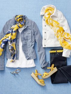 Like the color combo and love the overall look. NOT a fan of the gingham print for jacket.