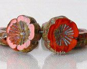 etsy simplypie PANSY, Orange Northern Cardinal Picasso, Czech Flower Glass Beads - 6