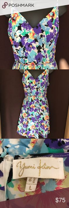 Yumi Kim Spaghetti Strap Dress w/ waist tie OMG Is it Summer Yet!!!  Gorgeous, Yumi Kim Multi Color Spaghetti Strap Dress w/ waist tie, back zip and pockets, lined, 100% Silk, dress it up with a nude strappy heeled sandal or down with flops! Yumi Kim Dresses