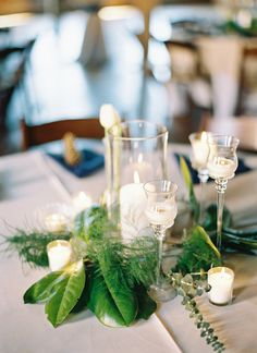 magnolia leaves and candle centerpiece
