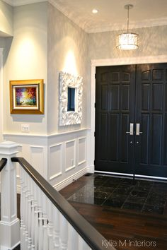 10 Satisfied Clever Ideas: Wainscoting Fireplace Small Spaces types of wainscoting kitchen cabinets.Wainscoting Ceiling With Beams wainscoting stairway projects.Wainscoting Full Wall Entry Ways. Painted Wainscoting, Dining Room Wainscoting, Black Wainscoting, Wainscoting Ideas, Wainscoting Height, Ceiling Paint Colors, Bedroom Paint Colors, Paint Sheen, Ceiling Trim