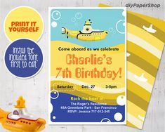 Excited to share the latest addition to my #etsy shop: Beatles Birthday Invitation, Yellow Submarine, Digital File Print, Printable, Editable PDF #beatleseditable #yellowsubmarine #beatlesinvitation #beatlesinvite #beatlesbirthday #birthdayinvitation #60sbirthdayinvite #musicinvitation Beatles Birthday, Yellow Submarine, Laser Printer, Diy Paper, The Beatles, Birthday Invitations, My Photos, Pdf, Printables