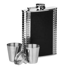 Hip Flask Set, Ribbed Stainless Steel/Black Leather Effect, 8oz Flask/2 Cups/Funnel