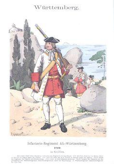 Band II #21 - Württemberg. Infanterie-Regiment Alt-Württemberg in Sizilien. 1719. .