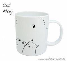 taza de gato (realizada a mano) cerámica pintura porcelánica