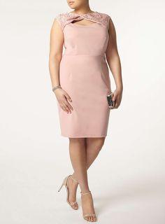 **Showcase Curve Pink lace bodycon dress