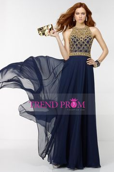 2016 Prom Dresses Scoop A Line Chiffon With Beads