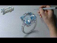 Drawing a gemstone and green bottle - 3D Art - YouTube