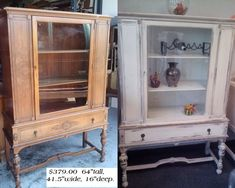 Before and after of china cabinet shabby chic vintage storage