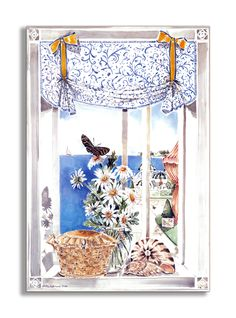 Daisies and Butterfly Faux Window Scene Wall Plaque