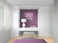 bedroom, purple, 3D vizualization, rendering, kare design, interior design