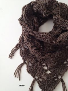 Fringed Triangle Cowl // Chocolate by morganela on Etsy