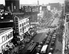 Hennepin Avenue and South Seventh Street, Minneapolis, Minnesota Historical Society. Minneapolis Parks, Minneapolis Skyline, Fountain City, Feeling Minnesota, Minnesota Historical Society, Twin Cities, Vintage Photos, 1940s Photos, Places