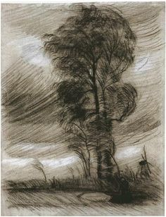"""Landscape in Stormy Weather"" By Van Gogh Drawing, Black chalk, heightened with white chalk, on light grey-blue laid paper"