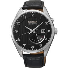 Seiko Kinetic watch comes with a rose goldtone case with a rose goldtone hands and markers. It features a kinetic quartz movement that has up to a 6 month power reserve. Black Leather Watch, Mens Watches Leather, Leather Men, Daniel Wellington, Fine Watches, Watches For Men, Wrist Watches, Emporio Armani, Online Watch Store