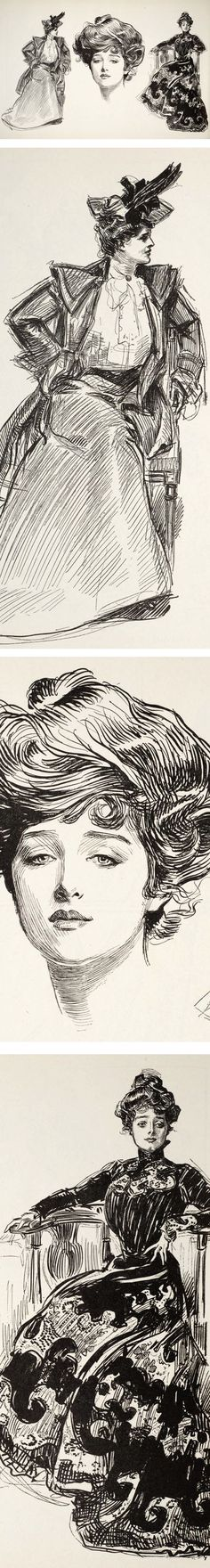 """Charles Dana Gibson was one of the great masters of pen and ink and a major early figure in """"Golden Age"""" illustration.  Look at the head of the """"Gibson Girl"""" the center, and the variety of lines, from the short, fine pen strokes around the eyes and nose, to the fluid, calligraphic curves at the top of the hair (which I assume are done with a brush). Wonderful."""