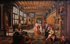 Paul Vredeman de Vries en Frans Francken II Interieur met dansend paar - c. 1610 - Galleria Sabauda, Turin