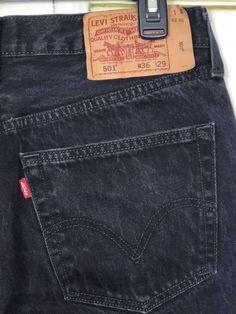 1cd32c0d5c9c4 Levis 501 Jeans Mens Sz 36x29 Actual 34x28 Black Button Fly Cotton Straight  Leg #Levis