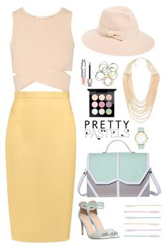 """""""Pretty pastels"""" by blueeyed-dreamer ❤ liked on Polyvore featuring MAC Cosmetics, Jonathan Simkhai, Raoul, Emeline Coates, Office, Monki, August Hat, NAKAMOL, Christian Dior and Kate Spade"""