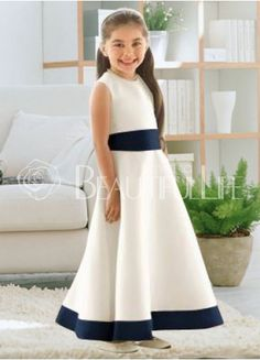 White Satin Bateau Sash Flower Girl Dress
