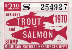 1970 Michigan Fishing Trout and Salmon Stamp