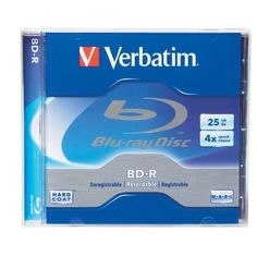 Verbatim 96434 25 GB 4x Blu-ray Single-Layer Recordable Disc BD-R, 1-Disc Jewel Case by Verbatim. $5.08. Verbatim 96434 BD-R 25GB 4X Branded 1pk Jewel Case, Blu-ray Disc is the next-generation optical disc format that was developed to enable recording and playback of high-definition video (HD), as well as storing large amounts of data. A single-layer Blu-ray Disc can hold 25GB, which can be used to record over 2 hours of HDTV. Blu-ray uses a blue-violet laser to read ...