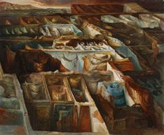 Over and Above, 1965,  Samuel Bak,  Oil on canvas  81x100 cm.  Collection of the Yad Vashem Art Museum, Jerusalem  Gift of the artist