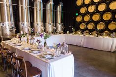 Intimate Cellar Room Reception at Wiens Family Cellars Winery in Temecula  http://www.wienscellars.com/temecula-wedding Photo By Ashley Bee Photography