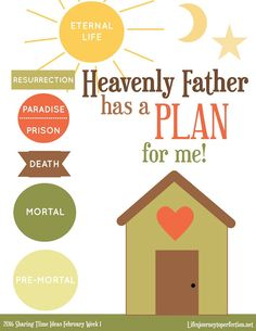 Life's Journey To Perfection: 2016 LDS Sharing Time Ideas For February Week Heavenly Father has a plan for me. Primary Talks, Lds Primary, Primary Music, Primary Activities, Church Activities, Family Home Evening, Family Night, Fhe Lessons, Primary Lessons
