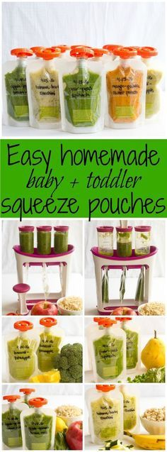 How to make homemade squeeze pouches and 5 easy recipes - great for babies, toddlers and preschool kids!   FamilyFoodontheTable.com