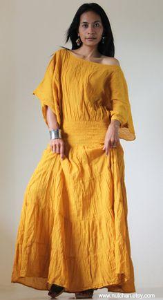 The Kaftan never goes out of style.   Long Kaftan Maxi Dress Tie Dye Yellow Mustard Boho by Nuichan, $52.00