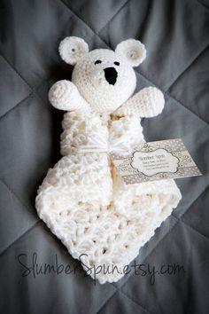 Crochet Bear Blanket Blankie Security Blanket by SlumberSpun