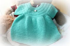 short sleeved baby crochet dress in pretty por crochetyknitsnbits, £15.99