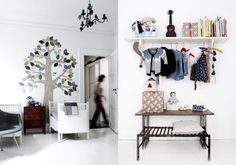 Shelf with clothes... great storage idea
