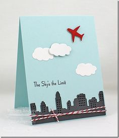The Sky's the Limit - MFT June Creative Challenge: Make It Masculine by Bar - Cards and Paper Crafts at Splitcoaststampers Creative Challenge, Goodbye Cards, Retirement Cards, Travel Cards, Graduation Cards, Kids Cards, Cute Cards, Greeting Cards Handmade, Homemade Cards