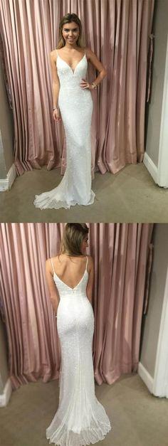 elegant spaghetti strap white mesh chiffon prom dress with beading, bodycon mermaid beaded wedding party dress, fashion Mesh Chiffon bridal dress with beading,