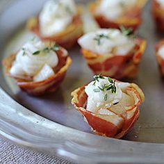 Pancetta cups with goat cheese and pears