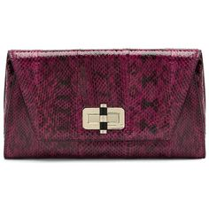 DIANE VON FURSTENBERG 440 Gallery Uptown Snake Clutch ($144) ❤ liked on Polyvore featuring bags, handbags, clutches, cerise, purple handbags, leather envelope clutch, snake purse, leather handbags and envelope clutch